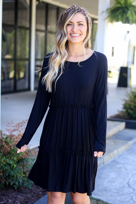 Black - Tiered Mini Dress from Dress Up