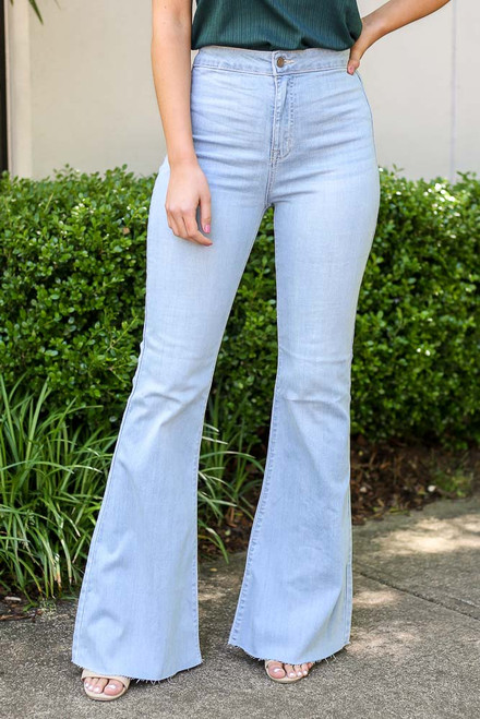 Light Wash - close up high rise light wash flare jeans