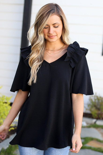 Black - Ruffle Shoulder Blouse