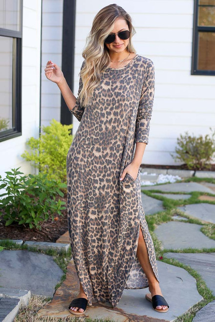 Leopard - cute maxi dress at dress up