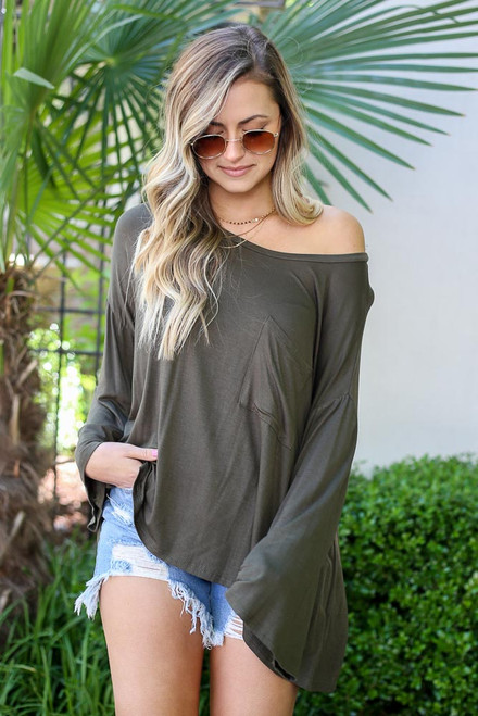 Olive - Jersey Knit Bell Sleeve Top