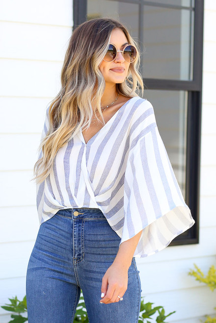 Blue - surplice blouse with statement sleeves at dress up