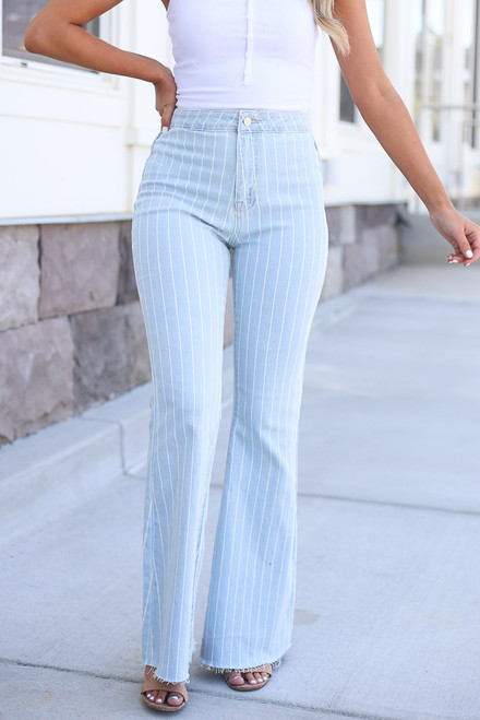 Light Wash - close up light wash pinstripe flare jeans