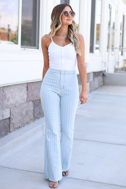 light wash pinstripe flare jeans