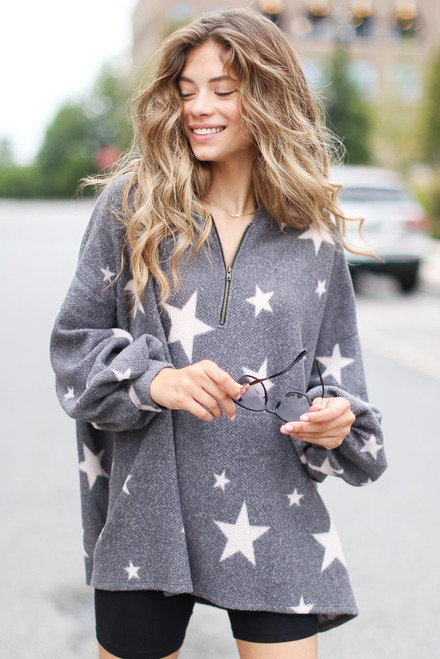 Charcoal - Oversized Star Hoodie