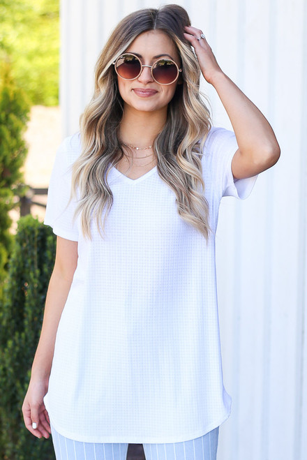 White - soft knit ribbed longline tee