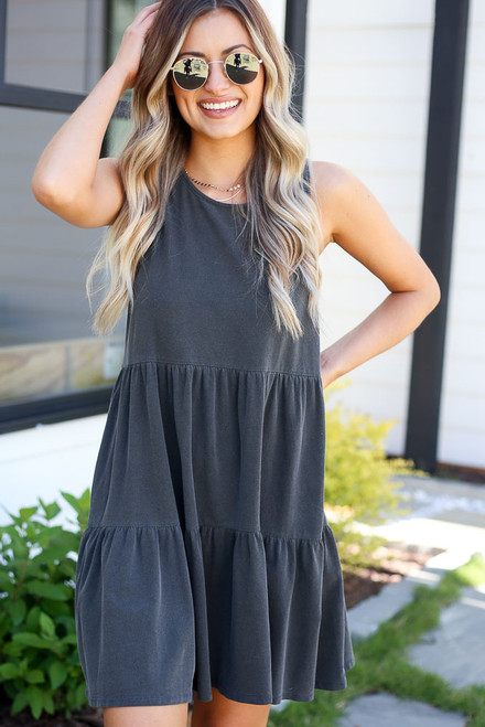Charcoal - cute tiered mini dress
