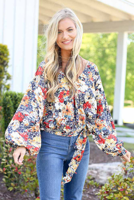Navy - cute floral wrap blouse at dress up