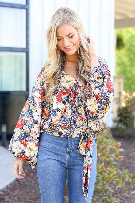 Navy - floral wrap tops at dress up