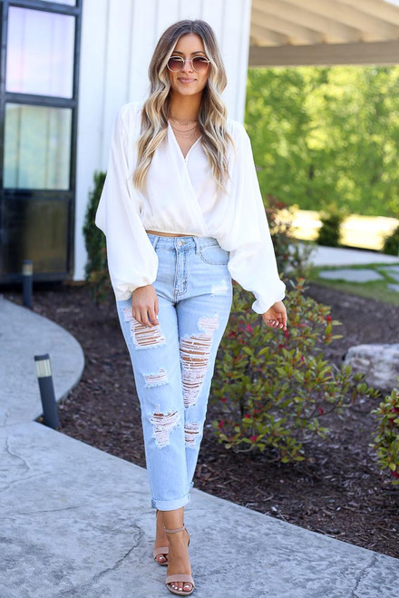 Light Wash - cute distressed denim jeans