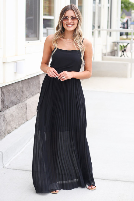Black - Front Tie Pleated Maxi Dress from Dress Up