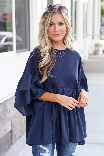 Navy - tiered sleeve oversized babydoll top from Dress Up