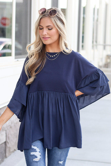 Navy - tiered sleeve babydoll top