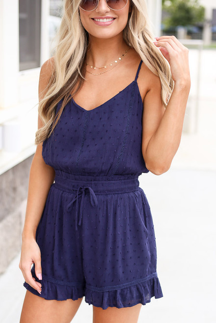 Navy - cute swiss dot romper