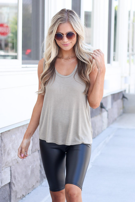 Taupe - scoop neck tank