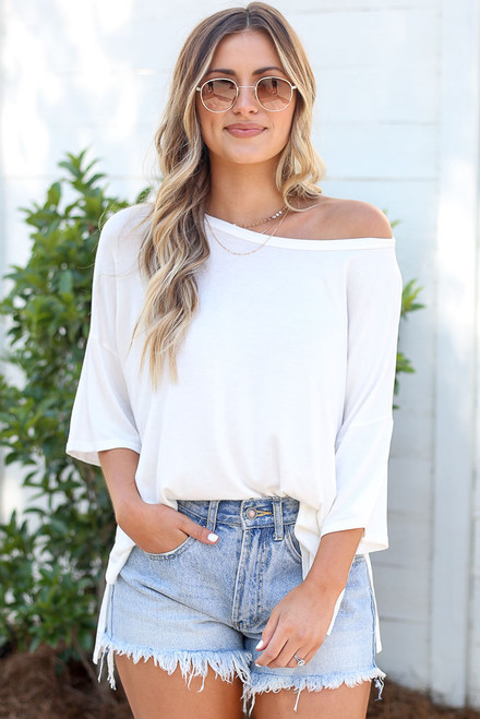 White - soft knit tee with distressed denim shorts