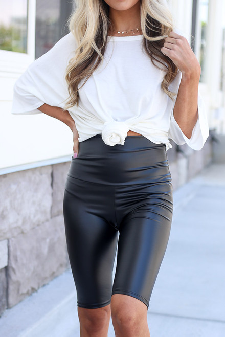 Black - close up faux leather biker shorts