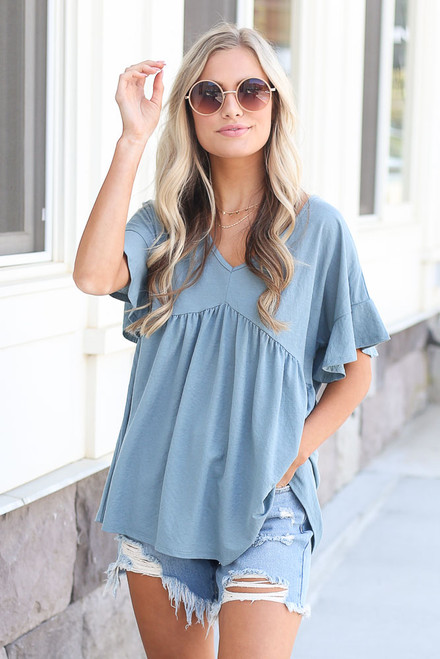 Blue - oversized babydoll top