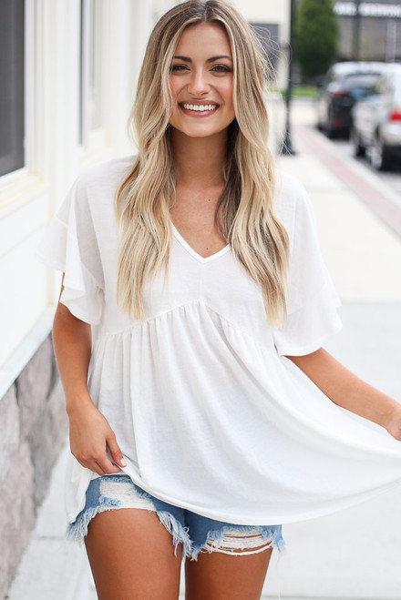 White - ruffle sleeve oversized top