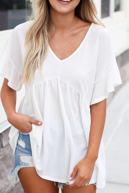 White - cute oversized ruffle sleeve top