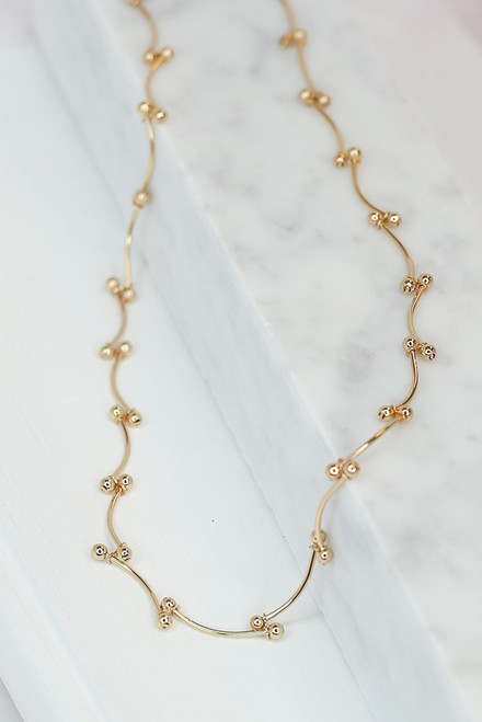 Gold - dainty gold beaded necklace