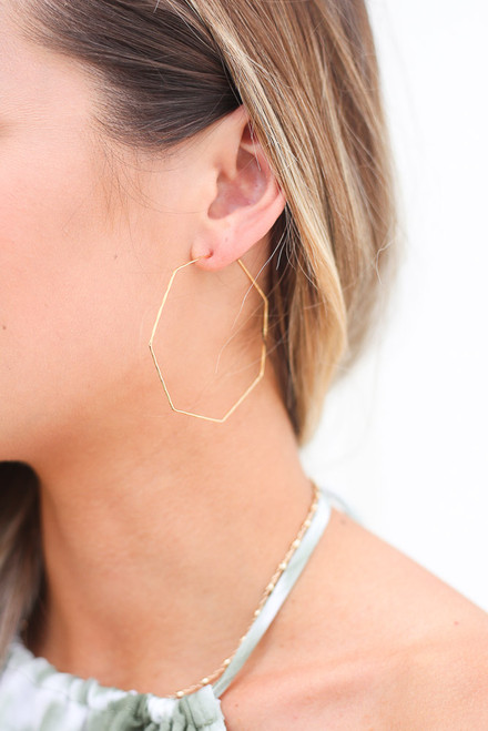 Gold - cute hexagon hoop earrings