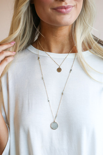 Gold - dainty layered pendant necklace