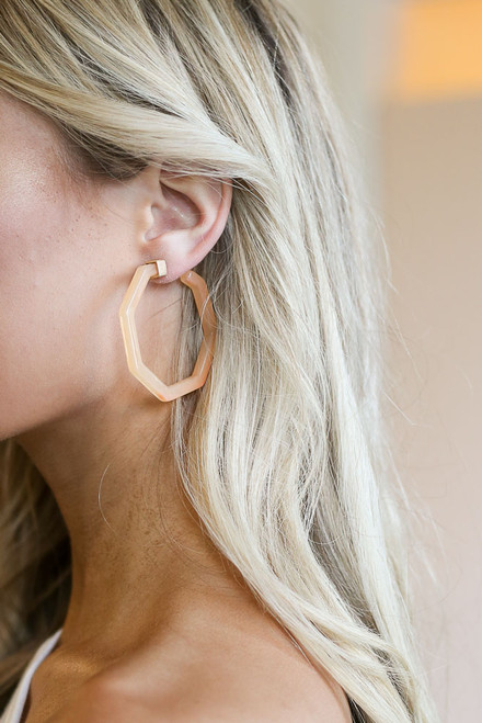 Blush - Hexagon Hoop Earrings