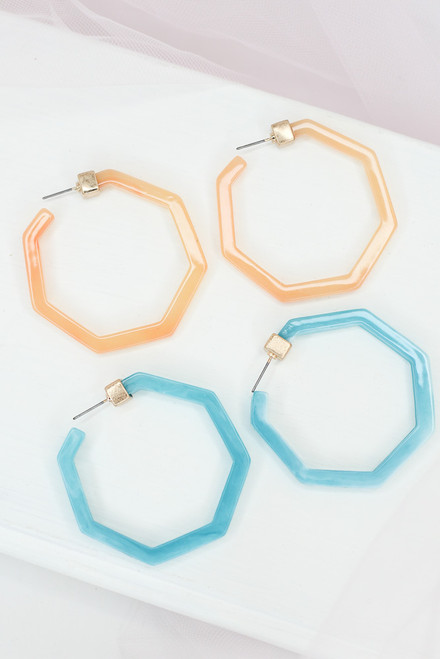 Blush - Acrylic Hoop Earrings