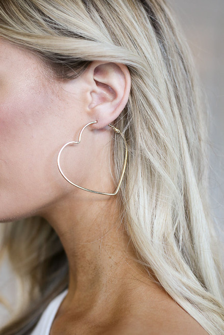 Gold - heart hoop earrings