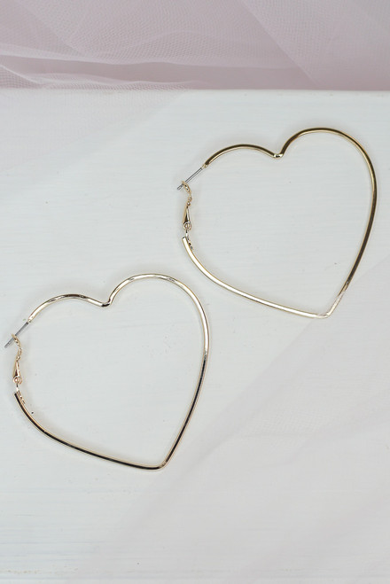 Gold - cute heart earrings at dress up