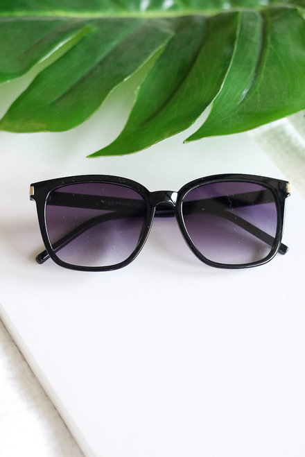 Black - square sunglasses
