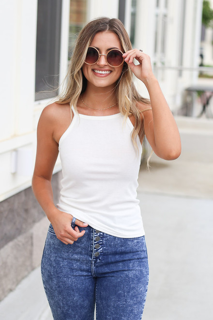 White - square neck tank at dress up