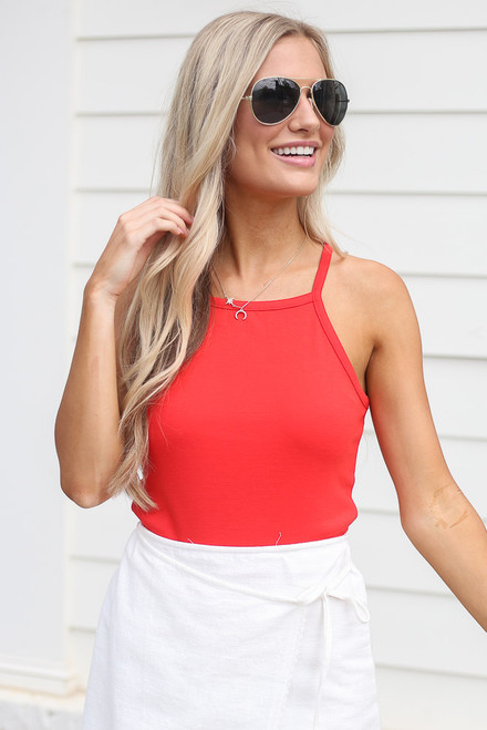 Red - cute square neck tank at dress up