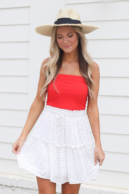 White - Model wearing the Tiered Polka Dot Skirt