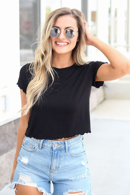 Black - cute ruffle tee at dress up