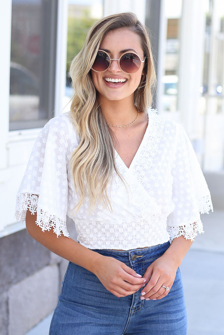 White - Crochet Crop Top