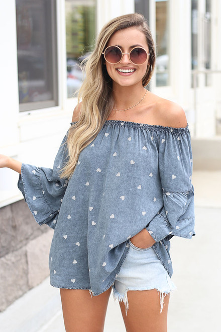 Denim - cute off the shoulder blouse