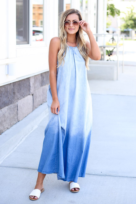 Denim - shop halter maxi dresses at dress up