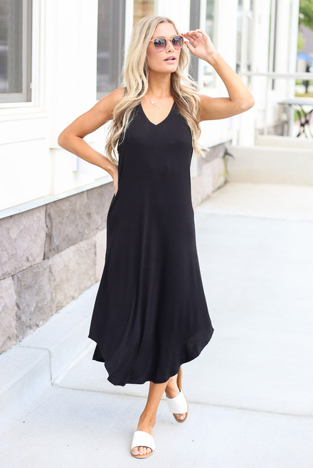 Black - cute midi dress at dress up