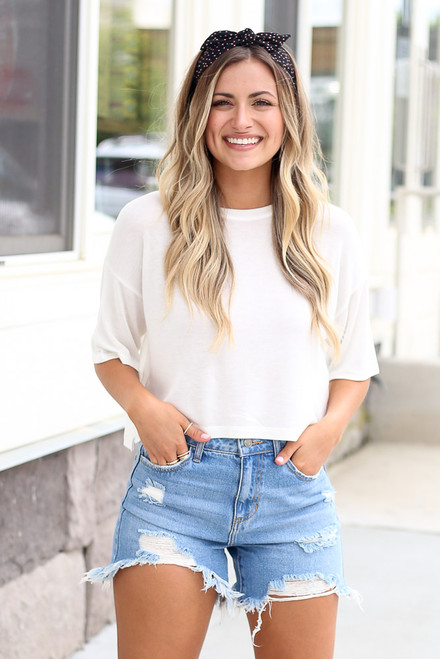White - soft knit cropped tee