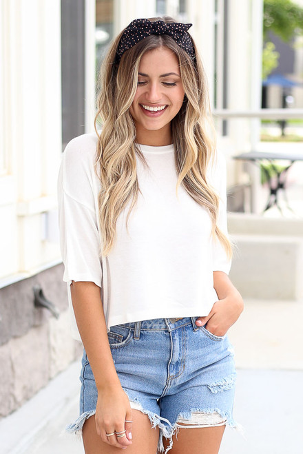 White - cute soft knit t-shirt at dress up