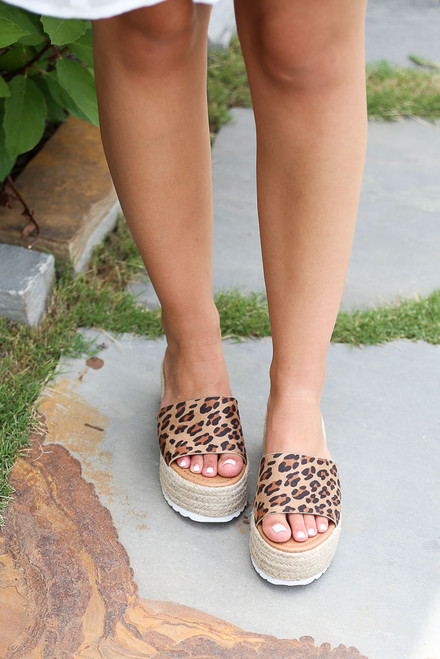 Leopard - must-have single strap platform espadrilles