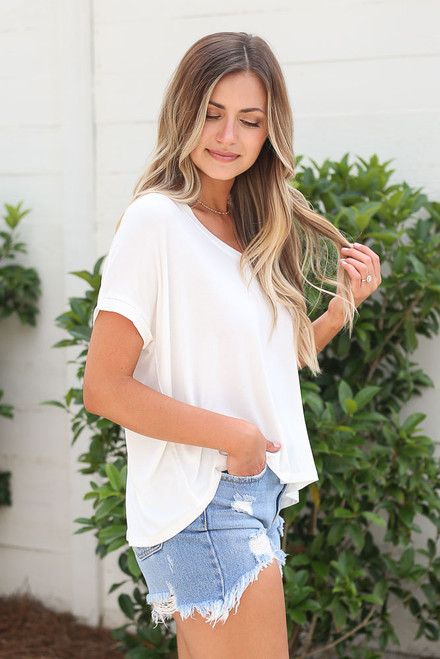 White - cute soft knit tee at dress up boutique