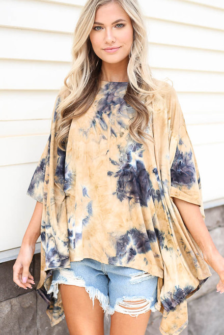 Taupe - cute oversized tie-dye top at dress up