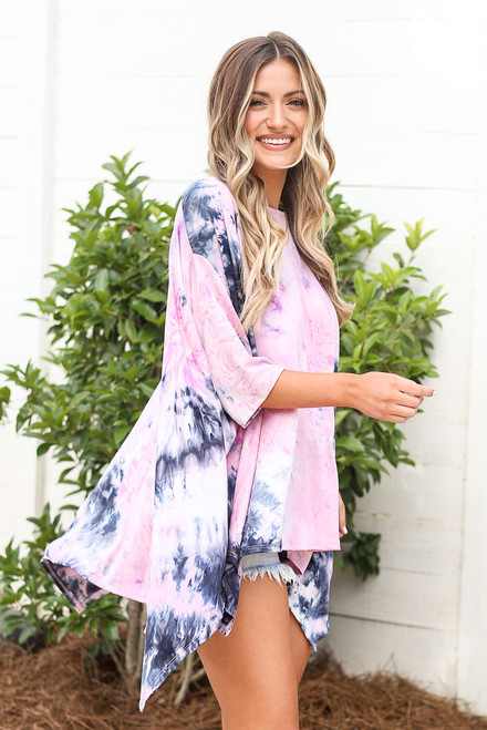 Pink - cute oversized tie-dye tunic