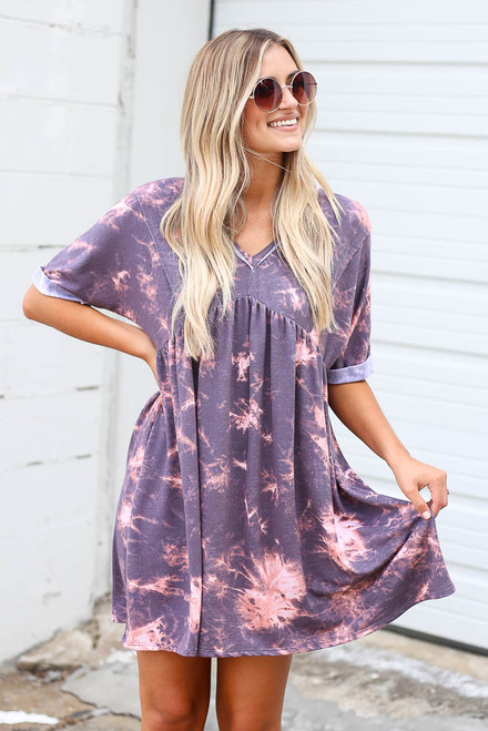 Purple - Tie-Dye Soft Knit Dress