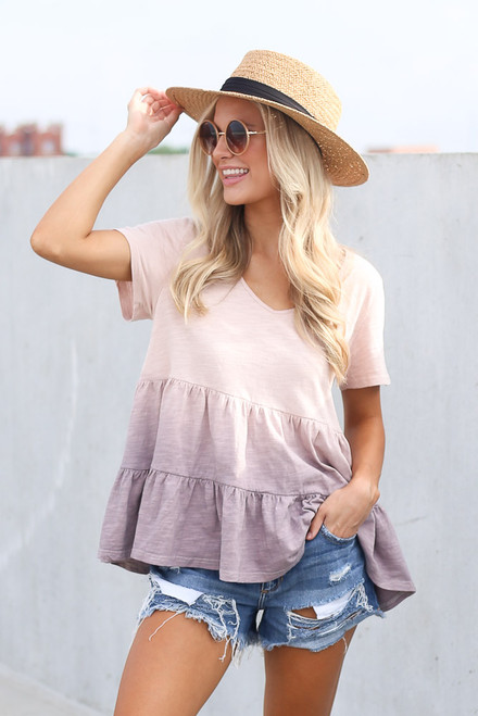 Lilac - Model wearing the Ombre Babydoll Top
