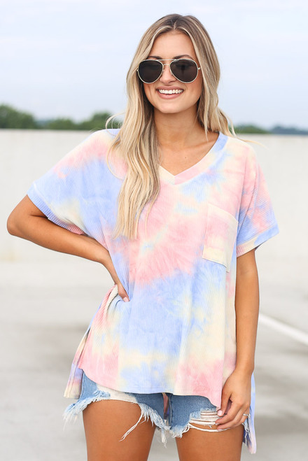 Pink - Oversized Tie-Dye Top