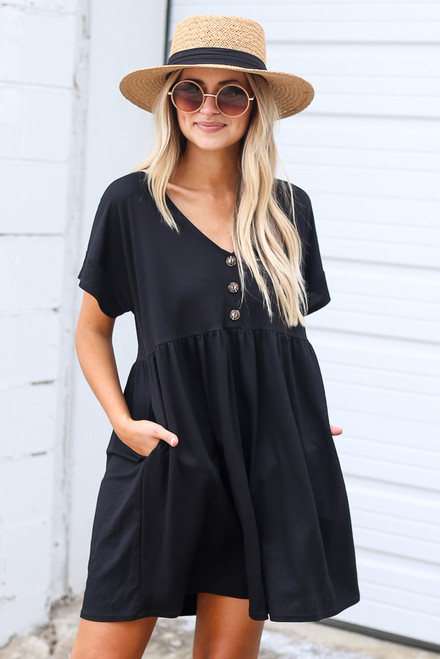 Black - Button Front Babydoll Dress